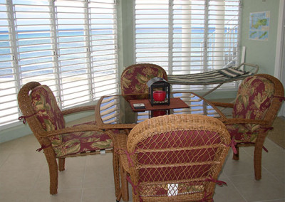The lanai has a great view with Caribbean breezes.